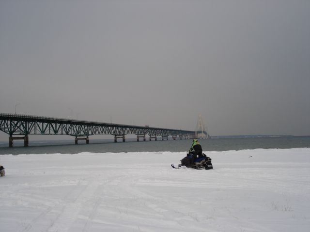 Gaylord group arrives at the Mackinaw Bridge January 17, 2008.